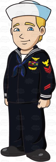 A Junior Enlisted Sailor In Uniform #cartoon #clipart #vector #vectortoons #stockimage #stockart #art