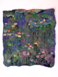 waterlilies wet felted and needle felted