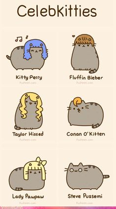 "Pusheen imitating celebrities. They should have done ""Purry"" instead of Perry. That's a missed oppurtunity. Still  awesome, though!"