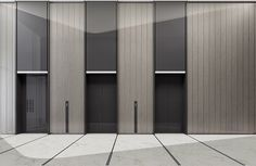 Lift doors with colour matched over panels Lobby Interior, Office Interior Design, Office Interiors, Interior Architecture, Corridor Design, Hall Design, Elevator Lobby Design, Hotel Corridor, Office Entrance