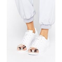 big sale c1b23 2f3c6 adidas Originals White Superstar Sneakers With Rose Gold Metal Toe Cap  ( 96) ❤ liked