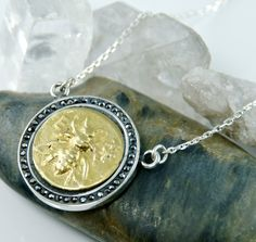 Ancient Coin Medallion Necklace - Ephesus Bee - 18K Gold - 925 Sterling Silver - Black CZs