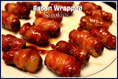 Bacon Wrapped Smokies! Note from Vickie - I have made these many times in the past as an appetizer - always a hit with people.  But, I would put them in the crock pot - so, I want to try this way for the next time.