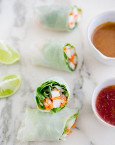 jicama spring rolls *butter lettuce, jicama, carrot, bean sprouts, basil, rice wrappers (sub lettuce or nori), thai sweet chili sauce, crunchy peanut butter (sub sunbutter), tamari (sub coconut aminos), maple SYRUP, lime, hot chili oil