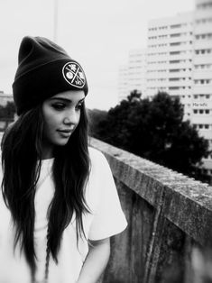 beanie and nose piercing
