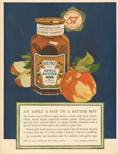1925 Heinz Apple Butter Bottle-Pittsburgh PA Vintage 1920s Food-Kitchen Decor Ad