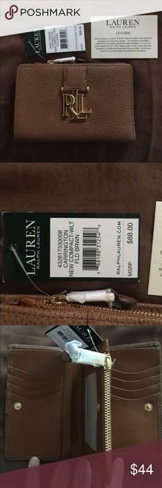 Lauren Ralph Lauren Wallet NWT LRL Wallet. Brown. Perfect condition. Even the Letters are not scratched.  Holds 8 cards plus ID. Change purse. Full slot for cash.  Perfect size for smaller handbags. Lauren Ralph Lauren Bags Wallets