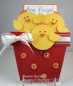 Chickens in a Pot - chick punch art - 1 3/4 circle, boho blossom, bird builder - bjl