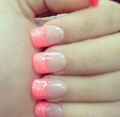 Pink sparkly French nails