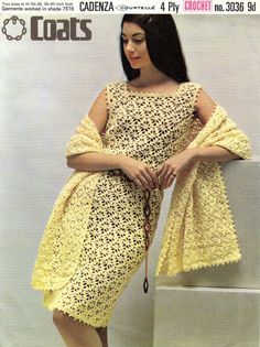 Instant Download, Print Yourself - Reformatted vintage crochet pattern in A4 PDF format. Ladies Crochet Dress & Stole/Shawl to Match.