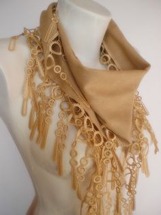 New Design Pashmina scarf with lace light brown by smilingpoet, $18.90