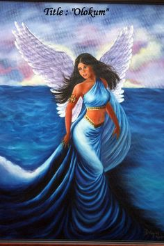 Painting created in 2007. Inspired by the Orisia tradition . This painting shows a mixture of force, mystery and beauty that inspires the seas to us. The Angel of the Sea is elevated on its hurricane base in growth like a symbol of force, intelligence and nobleness seen her having safe the life of those who venerate it.