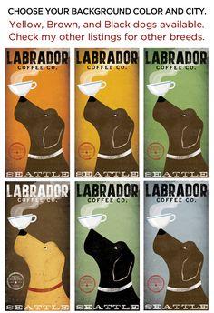 custom BLACK DOG LABRADOR Retriever Coffee Company graphic art giclee print 8x16 inches Signed by artist. $39.00, via Etsy.