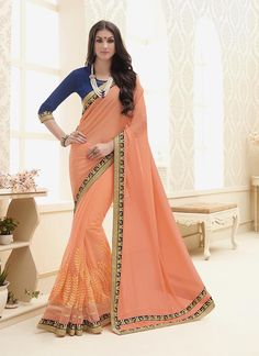 Buy casual & printed sarees online available. Grab this gorgonize embroidered and patch border work designer saree for festival and party.