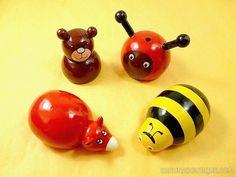 Taille-crayons en bois peint: ours, coccinelle, vache et abeille - Artisanat équitable