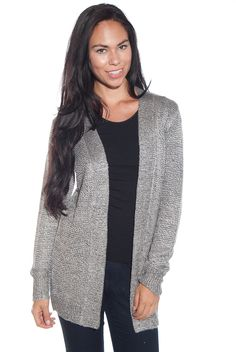 Top Ten Hit Knit Cardigan Sweater - Gray from My Bajee Collection at Lucky 21