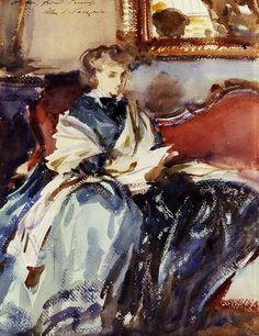 #watercolor #sketch #portrait John Singer Sargent (American expatriate artist, 1856-1925) The Green Dress