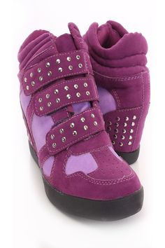c8b225116f84 Purple Studded Sneaker Wedges Faux Suede Studded Sneakers