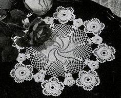 Irish Crochet Doily crochet pattern originally published in Doilies, Spool Cotton Book 201. #doilypatterns