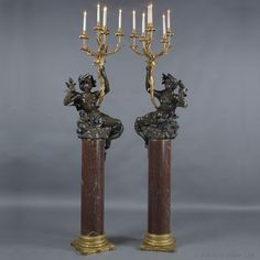 Pair of Bronze Figura Candelabra with Rouge Marble Columns, Probably Cast by Barbedienne - #adrianalan