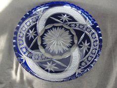 "Beautiful Cobalt Blue Cut to Clear 11 1/2"" Dish"