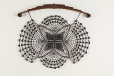 Spring Doily, 2011, created by Bette Levy - truck spring, crocheted nylon cord and Paverpol.