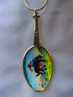 Bucking Bronco, British Columbia - vintage and rare enameled spoon jewellery - necklace, SS chain  www.bornwithasilverspoon.co.nz