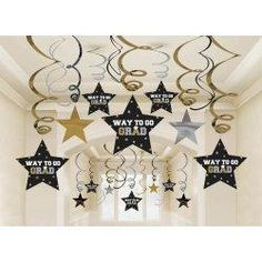 Graduation Star Swirl Decorations (Black / Silver / Gold) Party Accessory 30 pieces - New Sites Graduation Crafts, Graduation Party Supplies, Graduation Celebration, Graduation 2016, Graduation Banner, Preschool Graduation, Graduation Ideas, Star Wars Party, Star Party