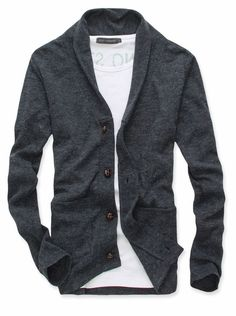 Men Stylish Single-breasted Double Pockets Cardigan Coat $11.84