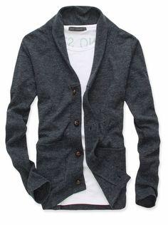 Men Stylish Single-breasted Double Pockets Cardigan Coat $11.84