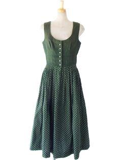 ヨーロッパ古着 ロンドン買い付け 60年代製 オリーブ X 花柄スカート ヴィンテージ チロリアン ワンピース 15OM112