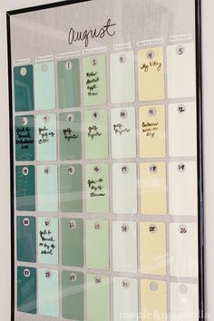 cheap poster frame, paint chips, and a dry-erase marker!  i need to make this.   it's so inexpensive and there are so many color/fabric possibilities!