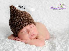 Crochet Baby Hershey Kiss Hat, Custom Made to Order Beanie, Handmade Newborn, 0-3, 3-6 Months Photo Photography Prop Baby Shower Gift.