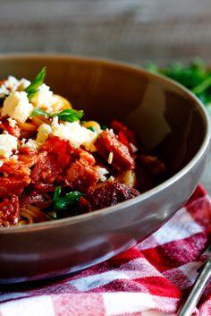 Tomato, Chorizo, and bacon pasta (with feta).  This looks sooo good!