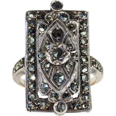 Vintage Art Deco Marcasite Ring in Silver and Gold, c. 1920