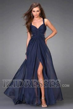 A-Line/Princess V-neck Straps Floor-length Chiffon Prom Dress