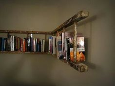 Cool shelf made of an old ladder