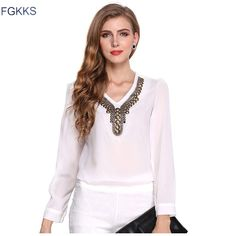 2017 High Quality Women luxury Chiffon Shirt Spring Long Sleeve Ladies Office Shirts Fashion Casual Women's Blouses Tops
