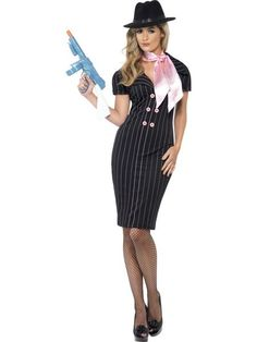 Looking for Gangster's Moll Costume, With Pinstripe Pencil Dress and Scarf? Get it from our wholesale Razzle Fancy Dress range today. Visits Smiffy's wholesale for all your Adult Fancy Dress needs today. Gangster Fancy Dress, 1920s Fancy Dress, Adult Fancy Dress, Gangster Girl, Gangster Party, Gangster Halloween Costumes, Unique Halloween Costumes, 1920s Costume, Costume Dress
