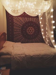 tumblr indie bedroom - tapestries and light canopy