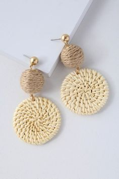 """The Lulus Cullen Cream Woven Earrings are simply chic as can be! Woven raffia medallions dangle elegantly from round, rope-wrapped charms. Earrings measure 2.5"""""""