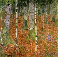 off Hand made oil painting reproduction of Birch Forest, one of the most famous paintings by Gustav Klimt. The Austrian artist Gustav Klimt painted the landscape entitled B. Art Nouveau, Landscape Art, Landscape Paintings, Oil Paintings, Impressionist Landscape, Original Paintings, Art Klimt, Baumgarten, Pics Art