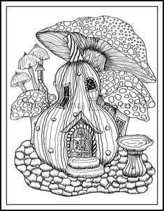 Mushrooms Coloring Pages Gourd And Mushrooms Wm Jpg - Baliod House Colouring Pages, Coloring Pages For Grown Ups, Fairy Coloring Pages, Adult Coloring Book Pages, Printable Coloring Pages, Coloring Books, Coloring Sheets, Mushroom Drawing, Fairy Drawings