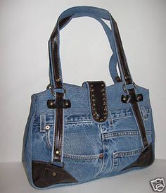 Denim Purse Designer Inspired Leather Shoulder Hand Bag