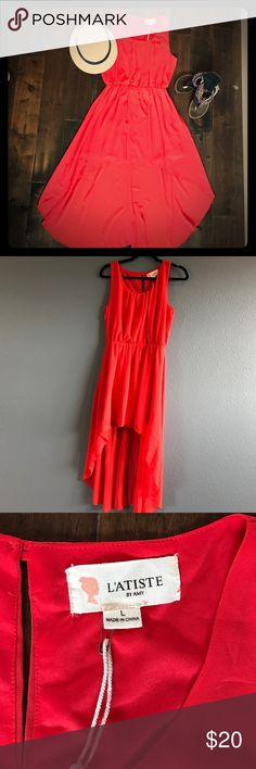 Never worn! Flowy red dress. Wear with sandals and a hat on warm days. Or pair with boots and a jean jacket! Versatile piece Dresses High Low