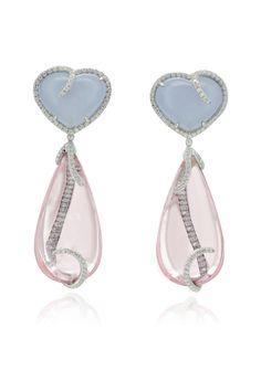 Margherita Burgener earrings. Heart shape top in diamond and chalcedony and detachable drops in cabochon morganite highlighted by diamonds.