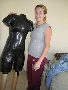 What a great idea for sewing - create your own dress form. THis is nuts! You have to duck tape a garbage bag on your body, cut it off and then fill with spray foam! I might make one of Nicole so I can make her clothes and costumes.