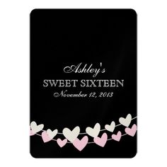 Pink and White Heart Strings Sweet Sixteen invitations