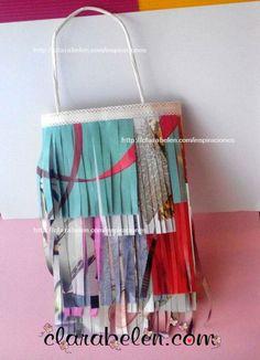 DIY bolsa para regalos de flecos con reciclaje de papel - Inspiraciones: manualidades y reciclaje