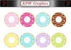 Iced Donuts Clip-art Set in a PNG file format. Personal & Small Commercial use File Format, Clipart Images, Donuts, Commercial, Clip Art, Ice, Colours, Invitations, Digital